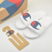 Champion Life Youth Slide Sandals Repeating Logo White - Best Online Sale