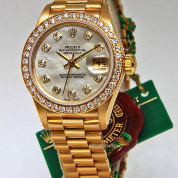 Rolex Datejust 18k Yellow Gold Factory Diamond MOP Ladies Watch Box/Papers 69138