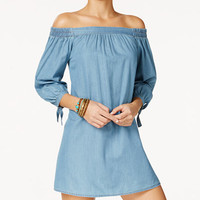 Speechless Juniors' Off-The-Shoulder Chambray Dress - Juniors Dresses - Macy's