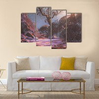Winter Sunset With Trees Multi Panel Canvas Wall Art