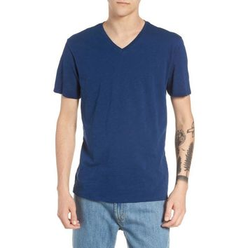 Men's The Rail Blue Slub Cotton V-Neck T-Shirt