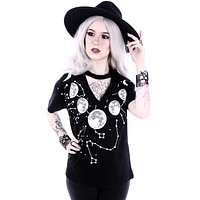 Moon Child V-neck with choker Moon Phases Black Tee