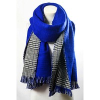 Reversible hounds tooth solid frayed border scarf