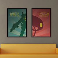 Bioshock Inspired Vintage Poster Set - Welcome to Rapture/Columbia