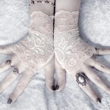 Adele Lace Fingerless Gloves - Soft Ivory Cream Metallic Blush Pink Floral - Wedding Gothic Vampire Regency Goth Austen Bridal Fetish