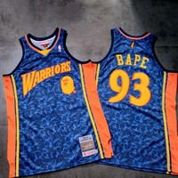 A BATHING APE® x MITCHELL & NESS x NBA Golden State Warriors Classic Bape #93 Blue Basketball Jerseys - Best Deal Online