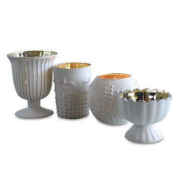 Vintage Glam Mercury Glass Tealight Votive Candle Holders (Antique White, Set of 4, Assorted Designs and Sizes) - for Weddings, Events and Home Décor