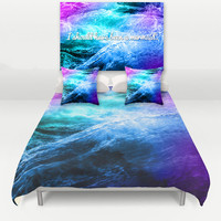 Bedroom Set Duvet Cover Made to Order, Ocean Waves Mermaid Blue Purple, Hipster Beach Decor,  Bedding Set, 16x24 print Pair of Pillows
