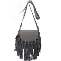 Gray Edge Tassel Mini Shoulder Bag