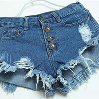 Hot Sale 4 Colors Denim Women Shorts Sexy Summer Hole Destroyed Shorts Jeans Plus Size High Waisted Jeans Short Feminino