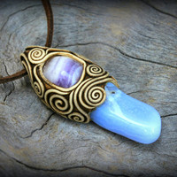 African Agate gemstone clay pendant sky blue Amethyst purple crystal stone metaphysical wiccan spiritual healing talisman