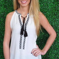 Keep it Chic Tassel Tank-Black