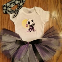 Jack Skellington Baby Tutu & Onesuit Bodysuit and Headband Outfit Adorable BaBY Shower GiFT Ready 2 ShiP Boutique UNiQUE Designs by Sugarbear