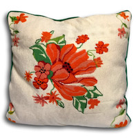 Vintage Preppy Chic Large Needlepoint Pillow
