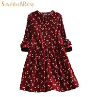 Japanese korean style long sleeved autumn fall all match fashion small flowers print floral fashion corduroy woman dress