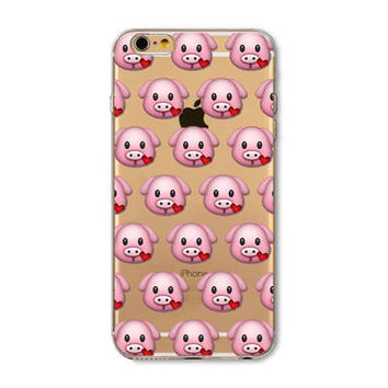 Facebook Love Pig Emoji Collage Painted Soft TPU Silicon Cases CoverCase For Apple iPhone 4 4S 5 5S SE 5C 6 6S 6 Plus 6S Plus