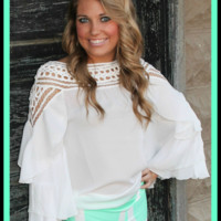 Bangles Boutique — White battenberg lace shoulder chiffon blouse featured with a double ruffle sleeves