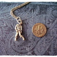 Silver Walking Zombie Necklace - Silver Pewter Walking Zombie Charm on a Delicate 18 Inch Silver Plated Cable Chain