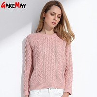 GAREMAY Women Retro Pullover Pink Sweater Jacquard Spring 2018 Women Slim Pull Femme Knitted Long Sleeve Sweaters Ladies Jumper