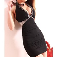 0123-buttocks thin hanging neck backless dress