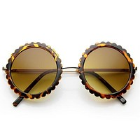 Women's Oversize Round Gear Etched Pattern Sunglasses 9626