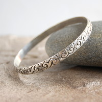 Wide Floral Pattern Sterling Silver Bangle Bracelet