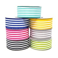 Cabana Stripes Satin Wired Ribbon, 10 Yards