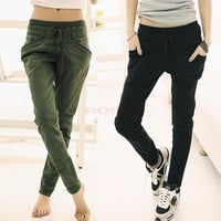 Women Sport Stretch Little Feet Harem Casual Pant Slack Sweatpant Trouser Lacing Jeans clothes 17576 = 1745406084