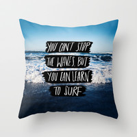 Learn to Surf Throw Pillow by Leah Flores