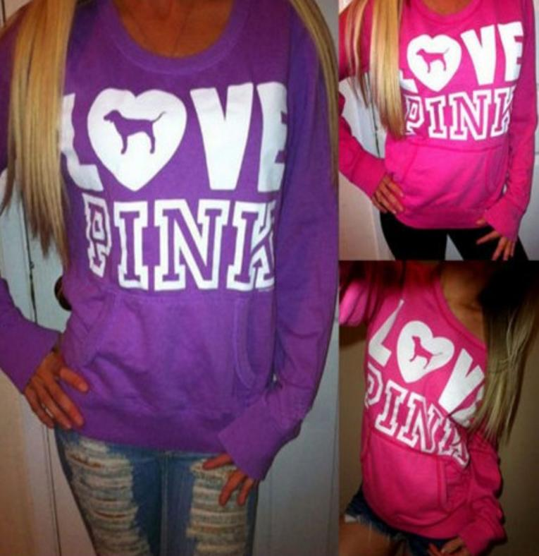 Image of Victoria's Secret PINK Women's Fashion Letter Print Hooded Long-sleeves Pullover Tops Sweater