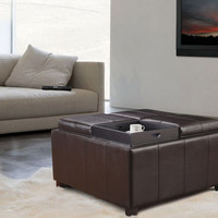"""Furnistar Brown Bonded Leather Square Storage Ottoman Footstool with 4 Serving Trays 35.5"""""""