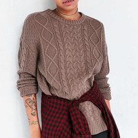 BDG Cable High/Low Crew Neck Sweater - Urban Outfitters