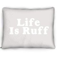 Life Is Ruff Grey Pet Bed