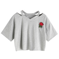 Gray Ripped Neck Embroidery Floral Crop T-shirt