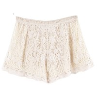 Lookbookstore Scollop Elasticate Waist Embroidery Floral Lace Crochet Knicker Shorts Hot Pants Apricot Us 3