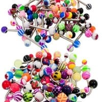 BodyJ4You Belly Button Rings Pack of 50 Pieces & Tongue Ring Barbells Pack of 50 Pieces