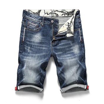 New Men's Stretch Short Jeans Fashion Casual Slim Fit High Quality Elastic Denim Shorts Male Brand Clothes