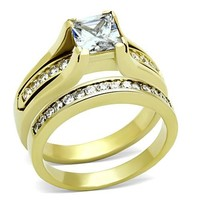 Gold Stainless Steel Princess CZ Wedding Ring Set