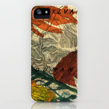Vintage Made Modern: Transylvania Roumania Map Collaged with Flowers iPhone & iPod Case by Iconographique