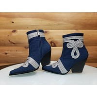 CR Kelsey 20 Denim Western Design Cowboy Style Pointy Toe Ankle Boot 6-11