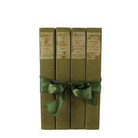 Green  Book Gift Set, Green Tan Decorative Books ,  Gifts for Teachers, Gifts for the Home, Gifts Under 30, Hostess Gifts