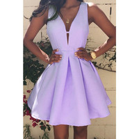 Women's Sweet Lavendar Purple A-Line Deep V-Neck Flare Sleeveless Dress