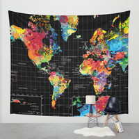 Abstract World Map Black Wall Tapestry by Gary Grayson