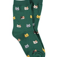 Cat-Patterned Crew Socks