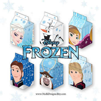 Frozen Printable Milk Carton Box Template, DIY, Party Gift Box, Paper Favor Box, Candy Box, Party Supplies, Instant Download