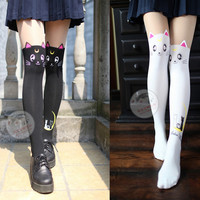 Anime Sailor Moon Cosplay Luna Cat Pattern Pantyhose Tights Socks Stockings