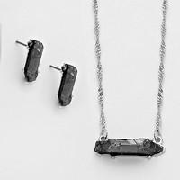 Adorn by Lulu- Glam Rock Necklace in Silver/Hematite
