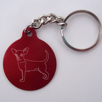 Laser-Etched Chihuahua Dog Key Chain: Blue Circle Chihuahua Key Chain