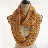 Ready To Ship Burnt Orange and Ivory Infinity Crochet Scarf Cowl Loop Circle Accessory