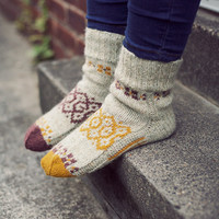 """Autumn mosaic"""" Natural colours hand knit wool socks. Handmade to order. Unisex adults"""